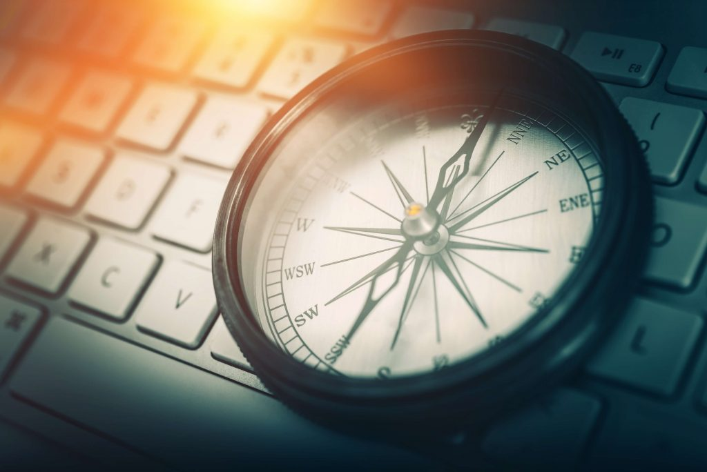 Compass representing website navigation